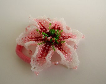 Elastics hair flower beads, orange