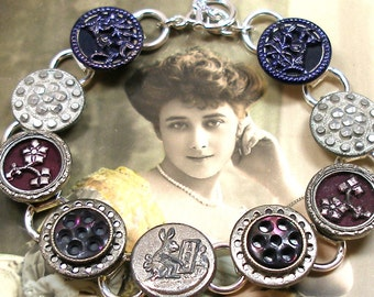 "Bunny BUTTON bracelet, Victorian Rabbit & flowers on silver, 7.75"" Antique button jewellery."