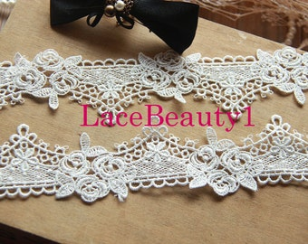 Embroidery water-soluble Lace Trim Vintage Lace trim floral lace trim White Lace Trim 4cm width 1 yard length