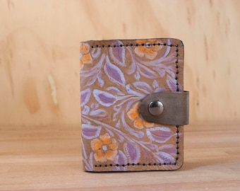 Small Coin Wallet - Limited Edition with Tooled Floral Pattern in Orange, Purple and Antique Black - ONE OF A KIND