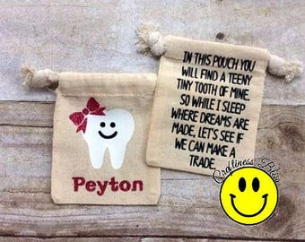 Personalized Tooth Fairy Bag Pouch Tooth Keeper Kid's Birthday Party Gift Boy Girl Tooth Fairy Bag Tooth Sack