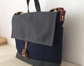 COURIER BAG | Unisex Messenger Bag | Waxed Canvas Leather | Men's Diaper Bag | Laptop Bag | 4 Pockets | Blue Grey | Made To Order