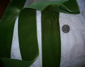 """Vintage Velvet Trim Rayon 2"""" wide Moss High Quality Old Store Stock"""