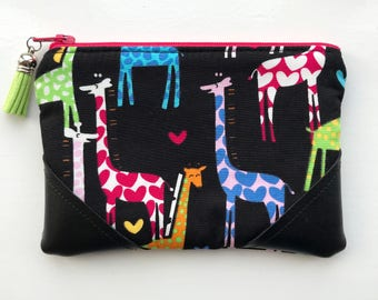 Coin Purse, Pouch Purse, Card Pouch, Zipper Pouch, Giraffes, Giraffe Purse, Giraffe Zipper Pouch, Hearts