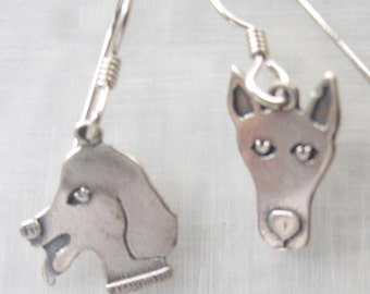 Sterling silver dog head earrings