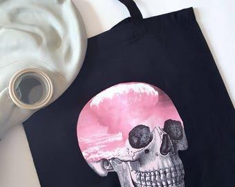 Skull Tote Bag Pastel Goth Bag Gothic Tote Bag Atomic Cloud BlackTote Bag