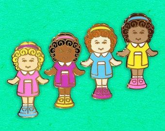Hard Enamel Doll Pins set of 4