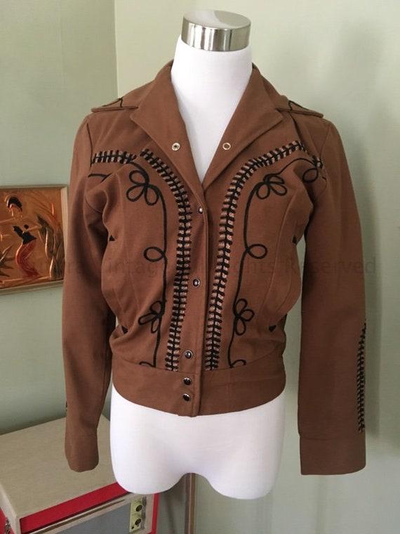 ROCK MOUNT Ranch Wear Brown Vintage Bolero Cowgirl Western Wear Jacket-XS
