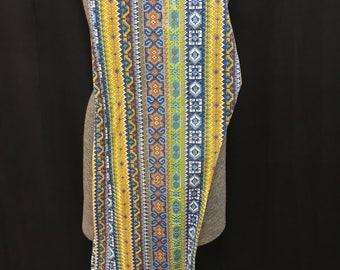 Cotton colorful 1970's drawstring hippie pants