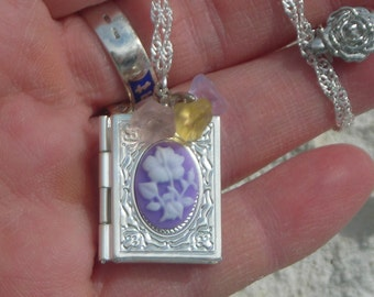 Adorable Gift for Her!! Exquisite Silver p. book LOCKET Hibiscus CAMEO cab-pastel morning glory beads w. S.P. chain & Rose clasp