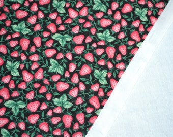 Vintage Fabric - Pink Strawberries on Black - By the Yard
