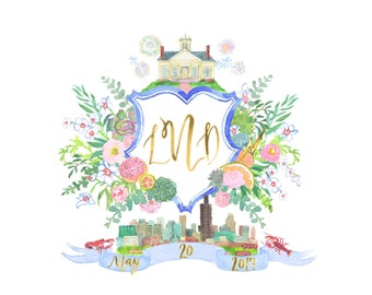 Hand Drawn Painted Crest - Monogram, Heraldry, flowers, Chicago, fireworks, orchid, pomello, succulent, skyline, crawfish, clarke house, icy