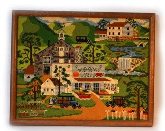 Vintage Needlepoint Charles Wysocki 97 Budzens Roadside Farm Stand