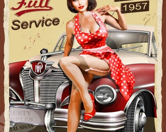 Garage Pin Up Mechanic Vintage Style Metal Sign Home Decor Garage Office Man Cave Lovely Gift