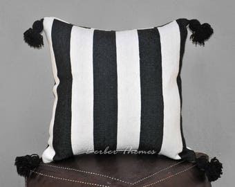 Moroccan Pom Pom Decorative Throw Pillow Cover Cotton, Accent Pillow Couch Sofa, Handwoven on Traditional Looms. #PC003