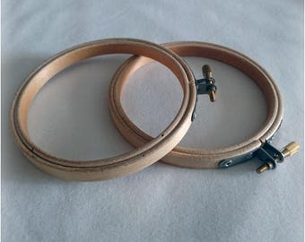 """Wooden Embroidery Hoop - 3/8"""" depth - 3"""" / 4"""" / 5"""" / 6"""" / 7"""" / 8"""" / 9"""" / 10"""" / 12"""" diameter"""