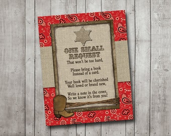 Boy Baby Shower Book Request Card Cowboy Western Sheriff Burlap Rustic Red Bandana Bring A Book Printable Instant Download Digital File