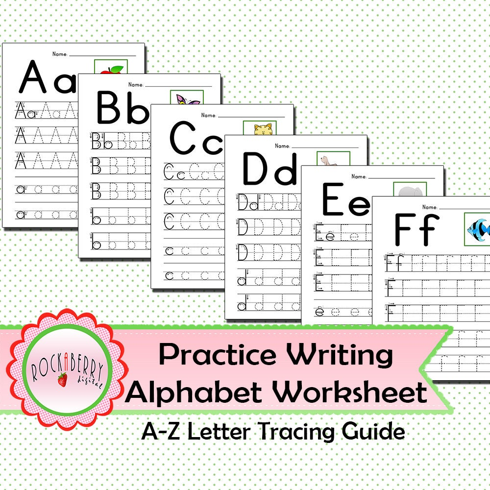 Preschool Toddler Practice Writing Alphabet with Tracing Guide
