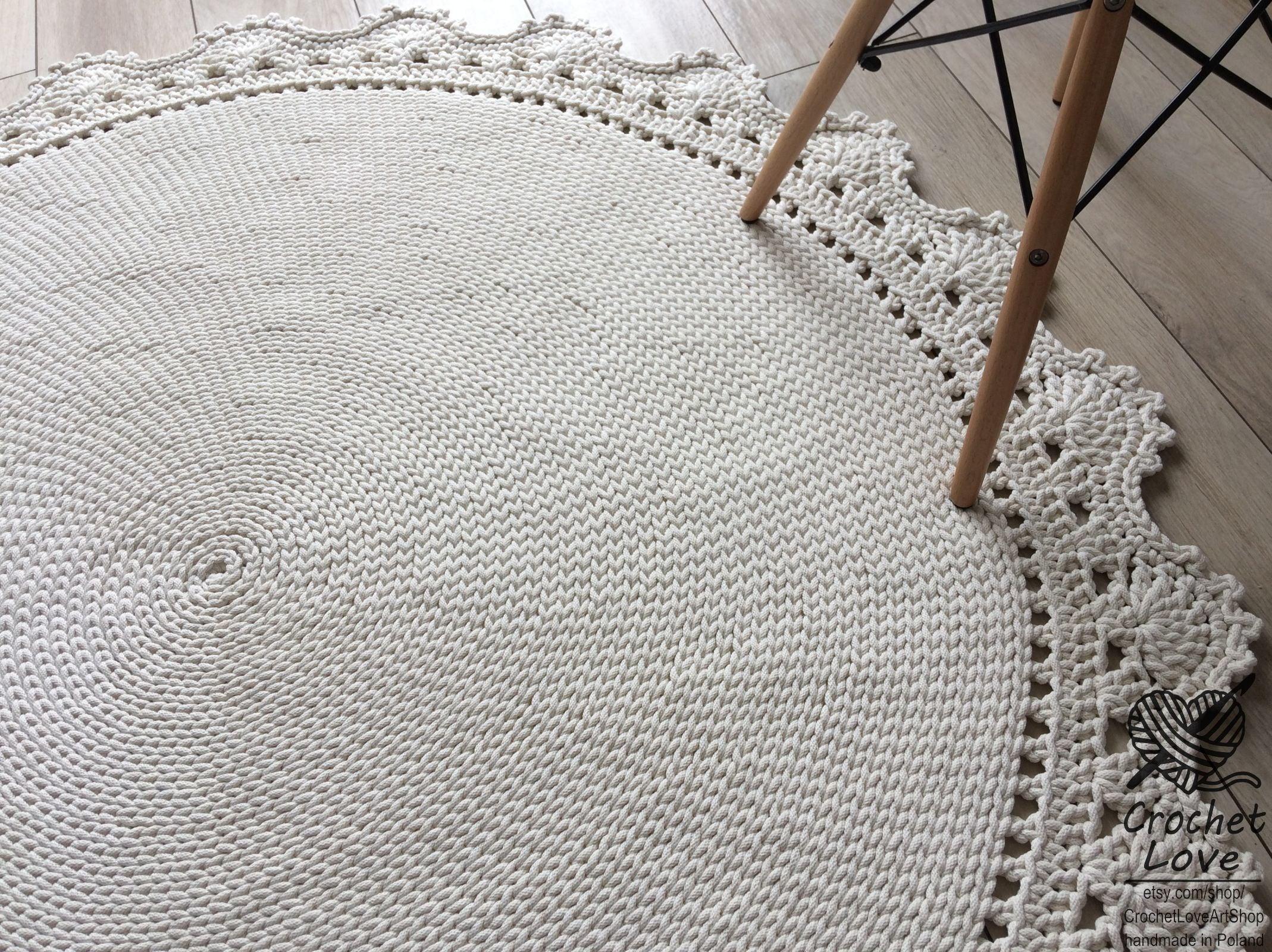 Handarbeit häkeln Teppich Deckchen Teppich runder Teppich