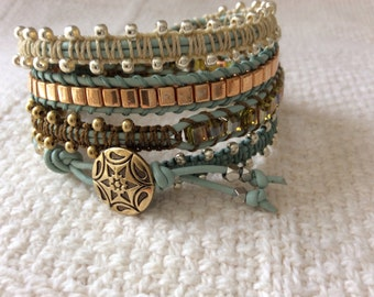 4x Pale Green Leather  Silver and Gold Beaded Wrap Bracelet