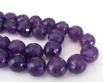 "Jade Round Beads - Purple Indigo Faceted Jade - Natural Gemstone Jade Beads - Center Drilled - 16"" Strand - 10mm - DIY Bracelet Necklace"