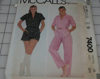 McCalls Misses Sewing Pattern 7400 Jump Suit In Two Lengths, Free Shipping, Size 10 New Uncut, Factory Folded,  Out Of Print