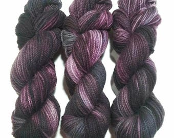 Hand Dyed Yarn: Aubergine - Hinterland Base {100% Wool, non superwash, 210yd, worsted} Suitable for knitting and crochet