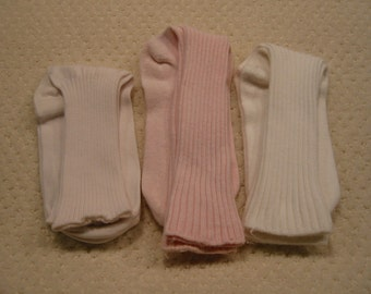 vintage lot of three pair all cotton womens socks . .light to medium weight . . . . .  gently worn