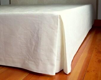 Ready-Made Queen Organic Bedskirt,  Hemp/Cotton Classic Bedding, Tailored, Natural