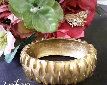 Cuff / Clamp Bracelet * CROWN TRIFARI * Gold Tone * 1960s