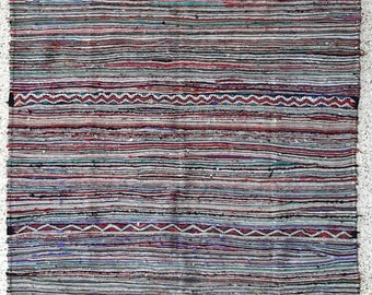 """98""""x63"""" Vintage Moroccan Rug Woven By Hand From Scraps Of Fabric / Boucherouite / Boucherouette"""
