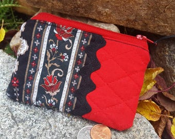 Quilted Coin Purse,  Change Wallet, Red and Black Coin Purse, Ladies Coin Purse, Earbud Pouch, credit card pouch