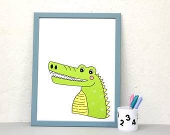 Crocodile Screenprint, animal wall art, A3 print, nursery print, kids room art, colourful print, screen print poster, cute animal poster