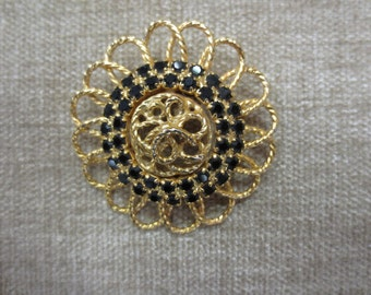 Goldtone Brooch with Black Crystals