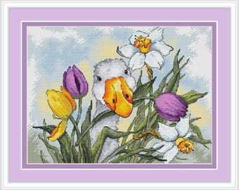 Goose in tulips cross stitch pattern Modern cross stitch Flower embroidery Easter cross stitch spring cross stitch PDF Instant download
