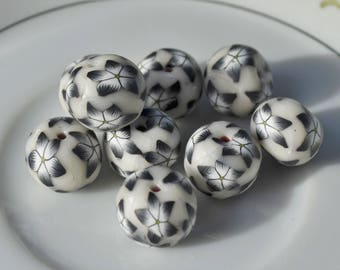 3 Black and White Floral Polymer Clay Beads