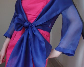 stole with sapphire blue silk organza sleeves