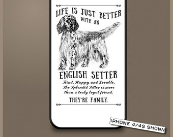 English Setter dog phone case cover iPhone Samsung ~ Can be Personalised