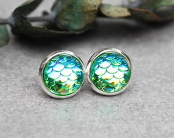 Green Mermaid Earrings, St Patrick's Day Earrings, Green Stud Earrings, Green Scale Earrings, Dragon Scale Earrings, Green Earrings