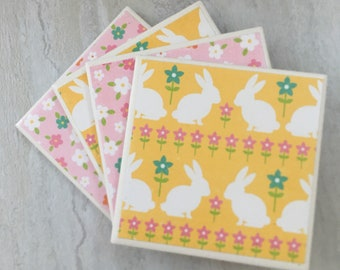 Coasters, Tile Coasters, Drinks Coasters, Coaster, Drink Coasters, Easter Coasters, Easter Decor, Ceramic Coasters, Coaster Set,