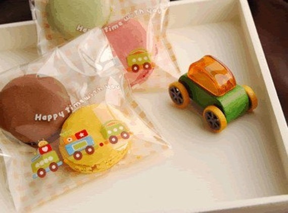 20pcs Colorful Little Train Happy Time Cookie Candy Treat Favor Bags