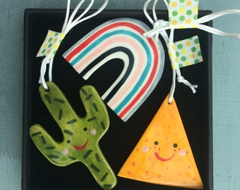 Cactus,tortilla chip and Rainbow Decoration.Mexican Theme Decorations.Housewarming gift.Ceramic tree Decorations.