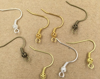 100PCS Brass Earwires Raw Brass/ Antique Bronze/ Silver/ Gold/ 14k Gold Ear Wire with Loop, Bead and Coil Wholesale Earrings Ear Hook