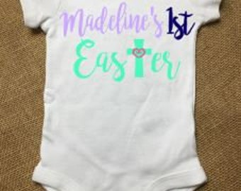 Personalized 1st Easter baby onesie for boy or girl, baby clothes, cross and heart