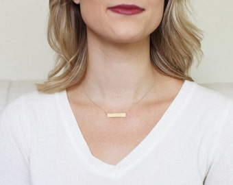SOLID GOLD BAR necklace // 14k gold bar necklace // solid 14k gold necklace // solid 14k rose gold necklace // solid white gold bar necklace