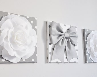 """White & Gray Textured Wall Decor - Flowers and Gray Bow on Polka Dot 12 x 12"""" Canvases Wall Art - Baby Nursery Wall Art"""