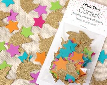 Unicorn and Stars Glitter Confetti - 80 pieces -Table confetti, Party Decorations