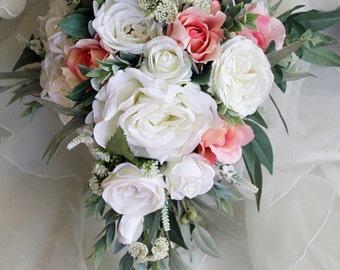 Teardrop, cascade bridal bouquet, wedding flowers, artificial wedding bouquet.  Roses, lissianthus, peonies, eucalyptus foliage.