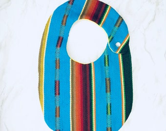 Serape Baby Bib Turquoise, Mexican