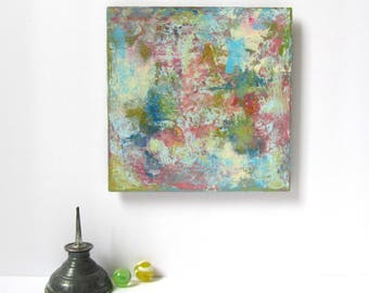 """Small Abstract Painting on Hardboard, Ready to Hang 6"""" x 6"""" Abstract Wall Art, Modern Home Decor in Blues, Pinks, Greens, Yellows and White"""
